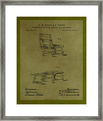 Combined Folding Chair And Bench Patent Drawing 1h Framed Print
