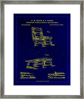 Combined Folding Chair And Bench Patent Drawing 1l Framed Print