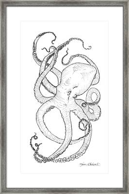 Come Let Me Give You A Hug Octopus Drawing Framed Print by Karen Whitworth