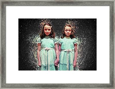 Framed Print featuring the digital art Come Play With Us - The Shining Twins by Taylan Apukovska