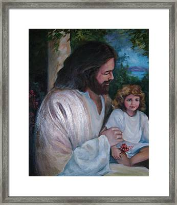 Come To Me Little Children Framed Print by Judy Groves