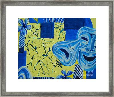 Framed Print featuring the painting Comedy Or Tragedy by Maria Langgle