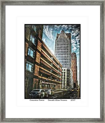 Comerica Tower Framed Print by Donald Yenson