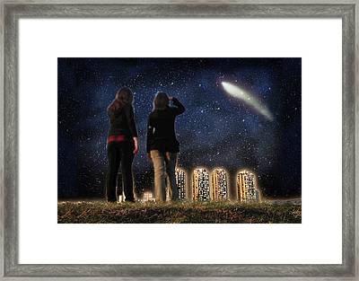 Comet Over The City Framed Print by Gravityx9  Designs