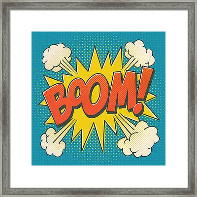 Comic Boom On Blue Framed Print by Mitch Frey