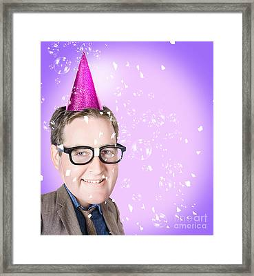 Comic Male Business Person At Office Work Party Framed Print