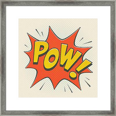 Comic Pow On Off White Framed Print by Mitch Frey