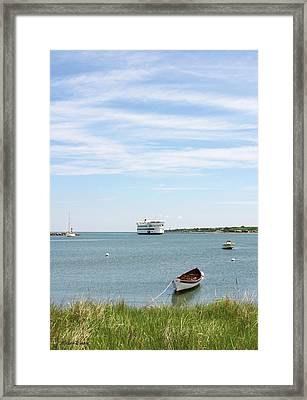 Coming Home Marthas Vineyard Ferry Arrives In Vineyard Haven Masachusetts Framed Print by Michelle Wiarda