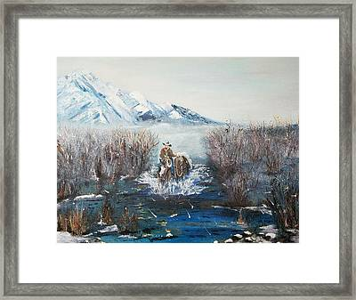 Coming Home- Oil Painting Framed Print by Anderson R Moore