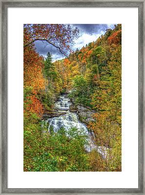 Coming Thru Majestic Cullasaja Falls North Carolina Waterfall Art Framed Print