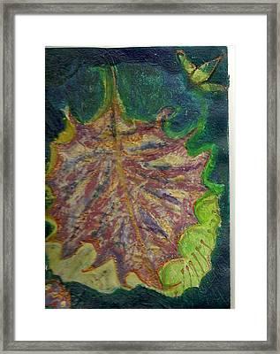 Coming To Me Floating Leaf  Framed Print by Anne-Elizabeth Whiteway