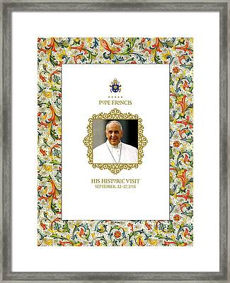 Commemorative Papal Visit Usa 2015 Pope Francis Framed Print by Desiderata Gallery