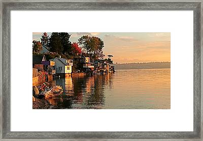 Commencement Bay At Sunset Framed Print by Sean Griffin