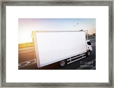 Commercial Cargo Delivery Truck With Blank White Trailer Driving On Highway Framed Print