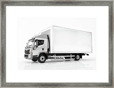 Commercial Cargo Delivery Truck With Blank White Trailer. Generic, Brandless Design. Framed Print