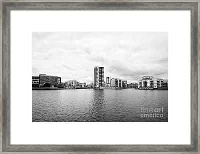 Commercial Celestia And Adventurers Quay Luxury Apartment Buildings On Roath Basin On Overcast Day  Framed Print