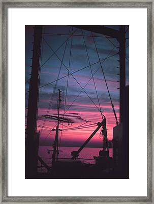Commercial Riggings With Sunset Framed Print by PhotographyAssociates