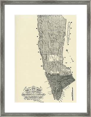 Commissioners' Map Of Manhattan, 1811 Framed Print by American School
