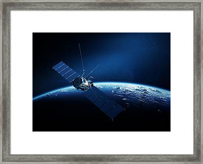 Communications Satellite Orbiting Earth Framed Print by Johan Swanepoel