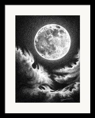Sea Moon Full Moon Drawings Framed Prints