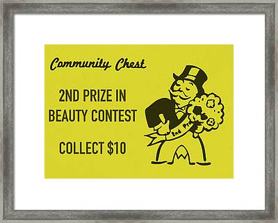 Community Chest Vintage Monopoly Board Game 2nd Prize In Beauty Contest Framed Print
