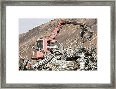 Compactor Removing Compressed Steel Framed Print