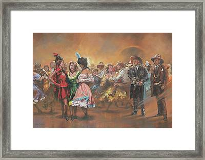 Comparing Notes Framed Print by Mia DeLode