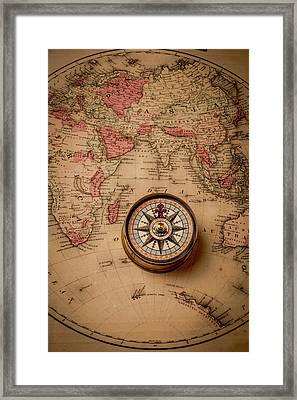 Compass And Europe Framed Print