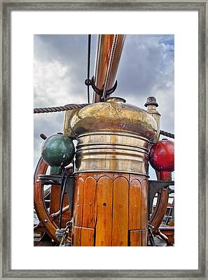 Compass And Wheel Framed Print by Robert Lacy