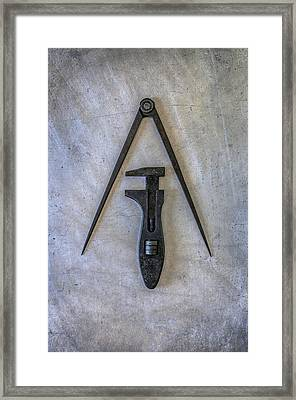 Compass And Wrench Framed Print by Carlos Caetano