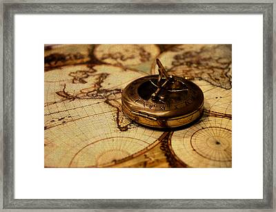 Compass On Vintage Old Map Of The World Framed Print