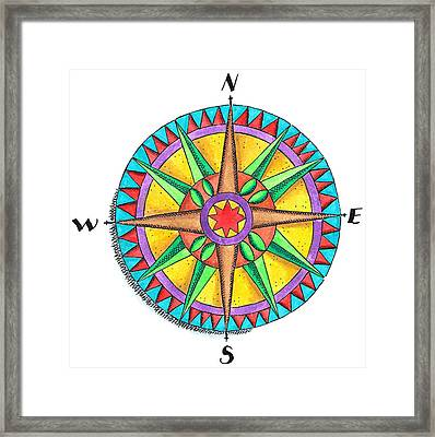 Compass Rose Framed Print by Jennifer Thermes