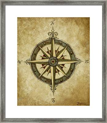Compass Rose Framed Print by Judy Merrell