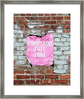 Complaint Free Zone- Fine Art Photo By Linda Woods Framed Print