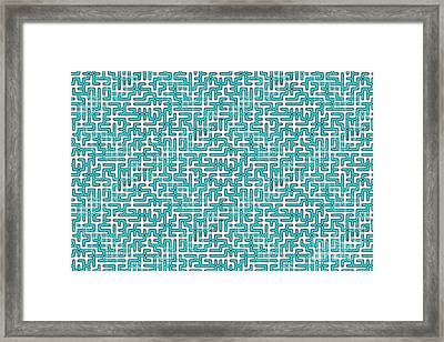 Complex Maze In Green And White Colors Framed Print by Yali Shi