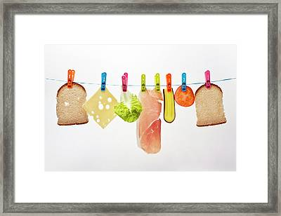 Components Of Sandwich Pegged To Washing Line Framed Print