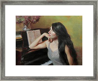 Composing Thoughts Framed Print by Anna Rose Bain