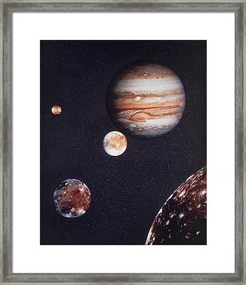 Composite Image Of Jupiter & Four Of Its Moons Framed Print by Nasa