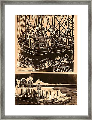 Composite Of Two Woodcuts Framed Print by Biagio Civale