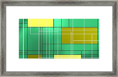 Composition M Ober Bright Green Framed Print by Alberto RuiZ