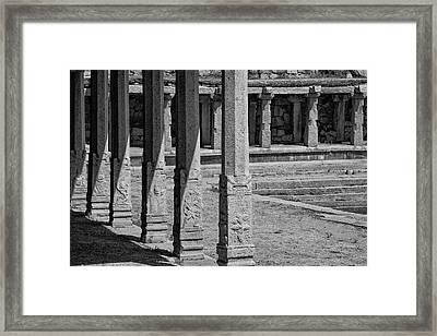 Composition Of Pillars, Hampi, 2017 Framed Print by Hitendra SINKAR