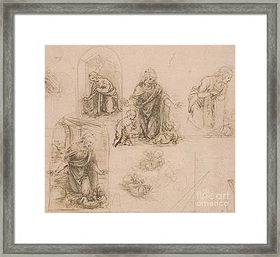 Compositional Sketches For The Virgin Adoring The Christ Child Framed Print by Leonardo Da Vinci