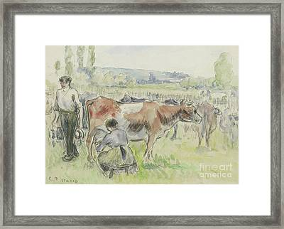 Compositional Study Of A Milking Scene  Framed Print