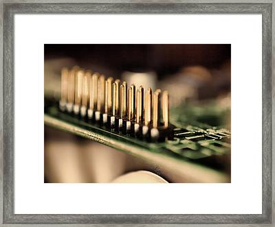 Computer Board Gold Pins Framed Print