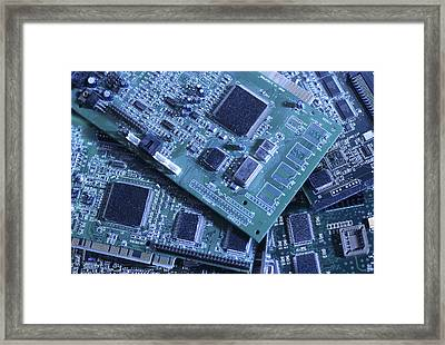 Computer Boards And Chips Lie In A Pile Framed Print by Taylor S. Kennedy