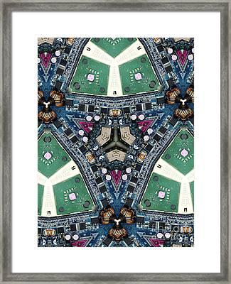 Computer Circuit Board Kaleidoscopic Design Framed Print