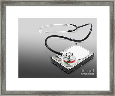 Computer Doctor Recovering Lost Data Information Framed Print