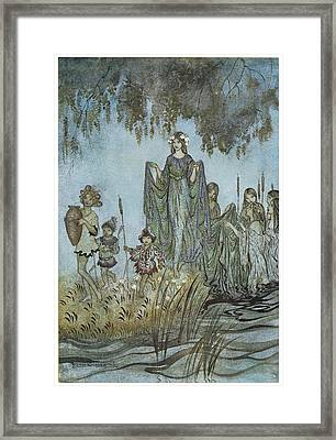Comus Sabrina Rises Attended By Water-nymphs Framed Print by Arthur Rackman