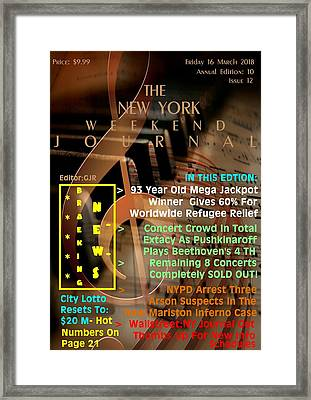 Concept Magazine Cover For The Imaginary New York Weekend Journal Of 16 March 2018 Framed Print