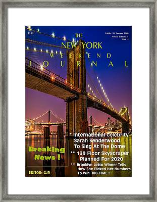 Concept Magazine Cover For The Imaginary New York Weekend Journal Of 26 January 2018 Framed Print